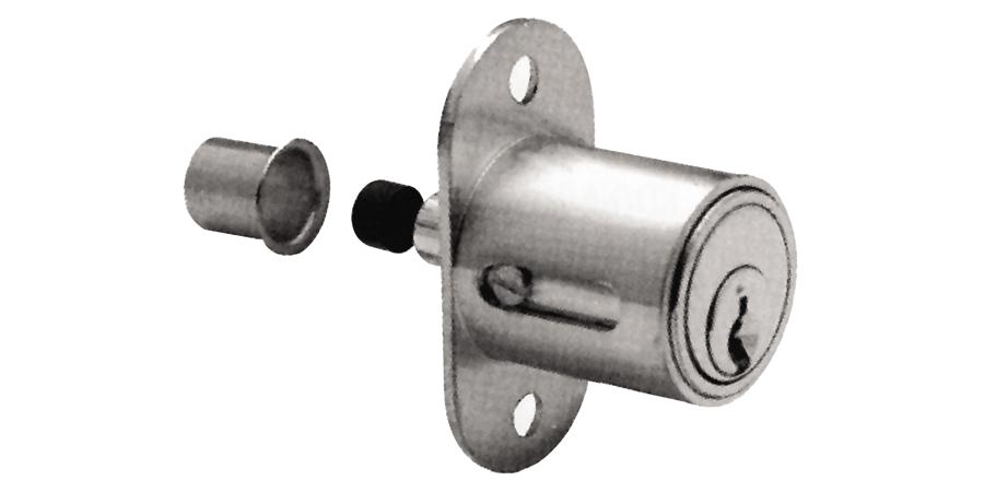 "Sliding Door Plunger Lock, National Keyway, Keyed Alike, 4-Pin Standard, 1"" Diameter x 1"" Length Barrel, Die-Cast Zinc, Satin Chrome Plated, With 103 Key"