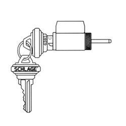 Cylindre de serrure, de porte classique, Standard, rainure de clavette C122, Chrome satiné, avec cylindre, pour série A/H serrure de porte