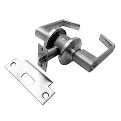 Serrure de porte, clé, levier de Saturne, C rainure de clavette, Chrome satiné, avec cylindre, assurée, grève, cellier