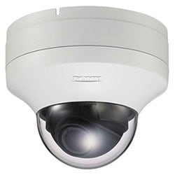 SD minidome camera, 1/3 type progessive scan Exmor CMOS sensor, 2.9x optical zoom, H.264/MPEG-4/JPEG, 30 fps, Day/Night, IK-10 rated