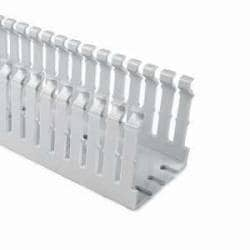 """High Density Slotted Wall Wiring Duct, 1.5"""" X 2"""", Non-Adhesive, PVC, Gray 120ft/Carton"""