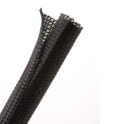 """Split Wrap Braided Sleeving, 0.75"""" ID, PET, Black, 50.0 ft/Standard Reel"""