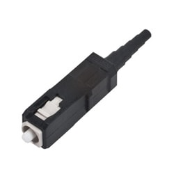 SC Connector, 50 µm multimode (OM2), ceramic ferrule, composite hardware, single pack, black housing, black boot