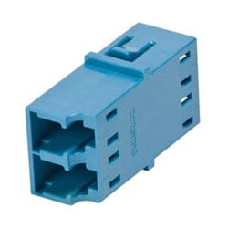 Fiber Optic Adapter, LC Duplex, Reduced-Flange Mount, Ceramic Sleeve, Single-mode (OS2), blue