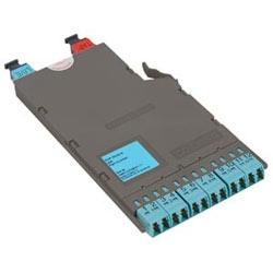 Pretium EDGE Solutions Tap Module, 50 µm MM (OM4), 50/50 split ratio (live/tap), 12-F LC duplex ports, one pinned MTP adapter labeled LIVE, one pinned red MTP adapter labeled TAP
