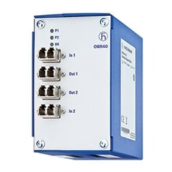 Optical relay for bridging Ethernet switches in the event of power outages. Suitable for any data protocols and rates. Type OBR40-50-LC.
