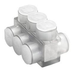 Aluminum Multiple Tap Connector, Clear Insulated, 10 Port, 2 Sided Entry, 10 AWG-250 kcmil, Al/Cu Rated