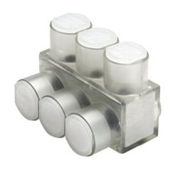 Aluminum Multiple Tap Connector, Clear Insulated, 10 Port, 1 Sided Entry, 10 AWG-250 kcmil, Al/Cu Rated