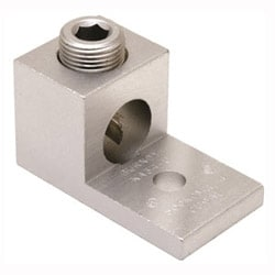 "Aluminum Universal Terminal, 1 Hole, 14-1/0 AWG (Str), 1/4"" Stud, 1 Screw, Al/Cu Rated, Tin Plated"