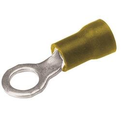 Terminal en cuivre, cosse à anneau, 12-10 AWG, #8-#10 plot de contact, isolation de vinyle, étamé