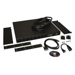 1.9kW Single-Phase Switched PDU, 120V Outlets (16 5-15/20R), L5-20P/5-20P input, 12ft Cord, 1U Rack-Mount, TAA