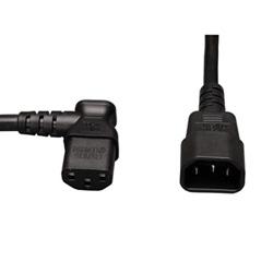 Le cordon, 10 a, 18AWG d'ordinateur standard (IEC-320-C14 à Angle gauche IEC-320-C13), 2-ft.