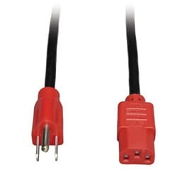 Universal Computer Power Cord, 10A, 18AWG (NEMA 5-15P to IEC-320-C13 with Red Plugs), 4-ft.