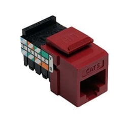 Category 5 QuickPort Connector, Universal Wiring, 110 Style Termination, 8P8C, Red
