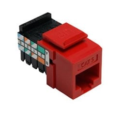 Category 5 QuickPort Connector, Universal Wiring, 110 Style Termination, 8P8C, Crimson
