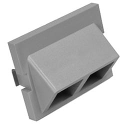 1.5 UNIT 45 DEGREE EXIT 2-PORT QUICKPORT MODULE, POLYBAGGED 25 PER CARTON, ONE INSTRUCTION SHEET PER CARTON. COLOR GREY.