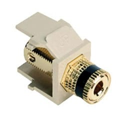 """QuickPort Binding Post Adapter with Black Stripe, Ivory, 0.636""""H x 0.575""""W x 1.19""""D"""