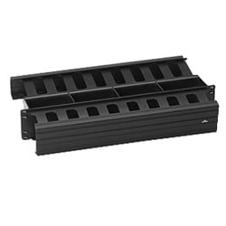 "Cable Management Duct, Slotted, Horizontal, Rack Mount, 2RU, 3"" Width x 3"" Depth Front, 2"" Width x 4"" Depth Rear, 19.01"" Width x 10.03"" Height, PVC, With Clip/Cover"