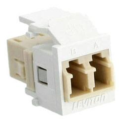 QuickPort Duplex LC Adapter, Multimode, Phosphor Bronze Sleeve, White