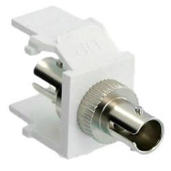 ST Thread-Lock QuickPort Fiber Optic Adapter, Multimode, Phosphor Bronze Sleeve, White