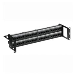 GigaMax 5e Universal Recessed Patch Panel, 48-Port, 2RU, Category 5e, Includes Cable Management Bar