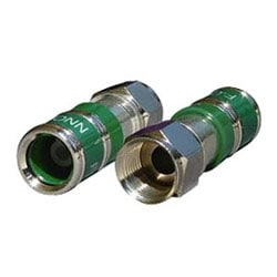 Compression F-Connector, Brass With Nickel Finish, Greater Than 40 lbs Pull Force, 360-Degree Electrical Continuity