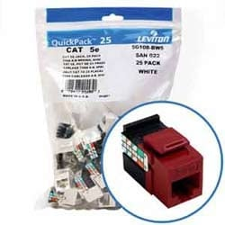 GigaMax 5e QuickPort Connector Quickpack, UTP Category 5e, 110 Style Termination, Universal Wiring, Red, Pack of 25