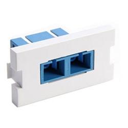 MOS Insert, Duplex SC Fiber Adapter with Zirconia Ceramic Sleeve, 1U High, White, Use With Single-Mode or Multimode Fiber