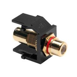 QuickPort RCA, connecteur plaqué or avec bande rouge, noir