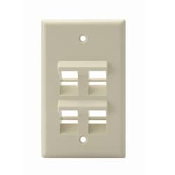 Angled QuickPort Wallplate 4-Port, Single Gang, Ivory