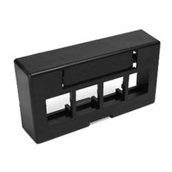 QuickPort Modular Furniture Extended Depth Faceplate, 4-Port, Black, Includes 1 Blank Insert