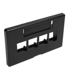 QuickPort Modular Furniture Faceplate, 4-Port, Black, Includes 1 Blank Insert, Compatible with Herman Miller products.