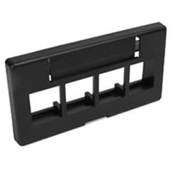 QuickPort Modular Furniture Faceplate, 4-Port, Black, Includes 1 Blank Insert, Compatible with Steelcase, Haworth, HON, and Others, Compatible with Herman Miller when G1189A Reducer (from Herman Miller) is used.