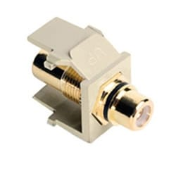 QuickPort RCA, Gold-Plated Connector with Black Stripe, Ivory