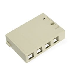 QuickPort Surface Mount Housing, 4-Port, Ivory