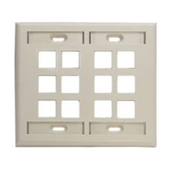 QuickPort Wallplate with ID Window, Dual Gang, 12-Port, Ivory