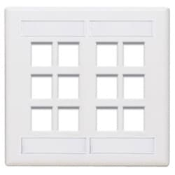 QuickPort Wallplate with ID Window, Dual Gang, 12-Port, White