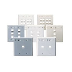 QuickPort Wallplate with ID Window, Dual Gang, 2-Port, White