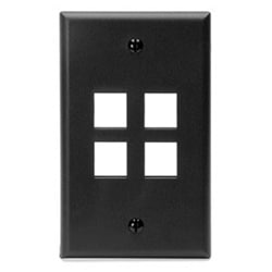 QuickPort Wallplate, Single Gang, 4-Port, Black