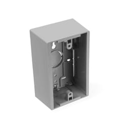 "Surface Mount Backbox, Single Gang, Grey, 1.89"" Depth"