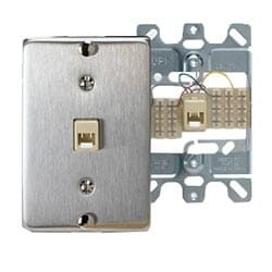 Telephone Wall Jack, 6-Position, 4-Conductors, Quick Connect, Stainless Steel
