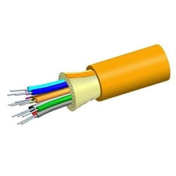 Low Smoke Zero Halogen Riser Distribution Cable, Orange Jacket, 4-Fiber Composite: 2-OptiSPEED, OM1, 62.5 µm Multimode Fiber and 2-TeraSPEED Single-mode Fiber