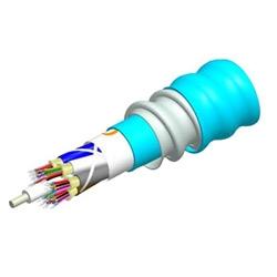 Low Smoke Zero Halogen Riser Distribution Cable, interlocking aluminum armored with low smoke zero halogen riser jacket, 24 fiber multi-unit with 6 fiber subunits