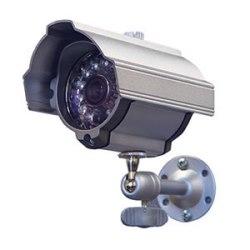 """Caméra """"Bullet"""" résistant aux intempéries couleur jour/nuit avec IR intégré LED, lentille de 4,3 mm, boîtier argent"""