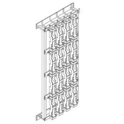 Wall Rack Mounted Cross-Connect Frame, 4 Rows and 4 Columns Block Spaces, 1073mm (42 1/4in) H, 481mm (19in) W, 25 Mounting Sapaces Required, 24 Lbs (10.9 Kg), Black Powder Coat Finish