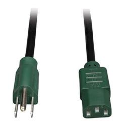 Cordon d'alimentation ordinateur universel, 10 a, 18AWG (NEMA 5-15P to IEC-320-C13 avec fiches vertes), 4 pi.