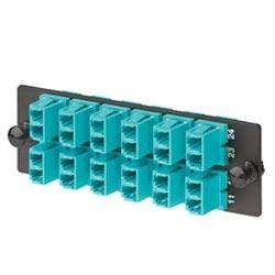 FAP with 12 LC Duplex 10 Gig OM3/OM4 Multimode Adapters (Aqua) Phosphor Bronze Split Sleeves