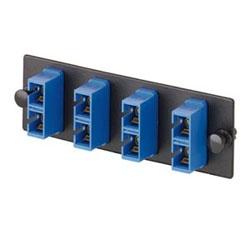 Fiber Optic Adapter Panel, Two SC Duplex Adapters, Loaded, Phosphor Bronze Split Sleeves, Blue