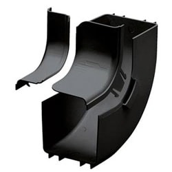 Attaches to 4x4 channel and/or fittings to create a 90 upward angle from a straight horizontal run. Used with outside vertical 90 angle fitting FROVRA4X4BL to change level of a straight horizontal run. Includes split cover.