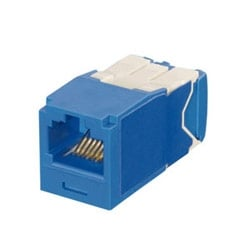 Mini-Com Keyed Module, Category 6A, UTP, 8-Position 8-Wire, Universal Wiring, Blue, TG Style